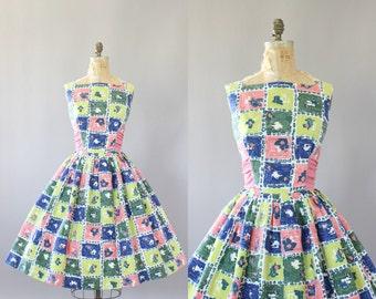 Vintage 50s Dress/ 1950s Cotton Dress/ Blue & Pink Abstract Print Cotton Dress w/ Oversized Waist Tie L