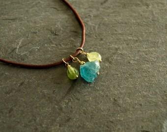 Leather apatite necklace, rough blue apatite, peridot, green garnet, raw multi gemstone, genuine leather, 14k goldfilled, pendant jewelry