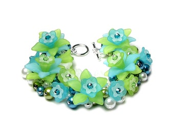 Sea Breeze Tropical Aqua Teal Lime Green White Flower Pearl Cluster Silver Charm Bracelet Summer Garden Party Jewelry Cruise Vacation Gift