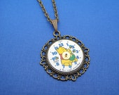 Upcycled Steampunk Winnie the Pooh Watch Face Pendant Necklace by Upcycled Elements