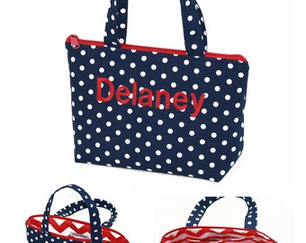 Custom made Navy Polka dot and red Handbag, personalized Small tote bag, handmade purse, everyday bag. (TZTBSP)