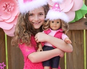 Little Girl and Doll Party Hat Sets American Girl 18inch dolls pink Doll star