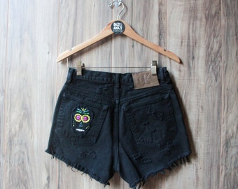 High waist black vintage denim shorts | Ripped distressed shorts | Embroidered denim | Hipster shorts | Unique festival shorts