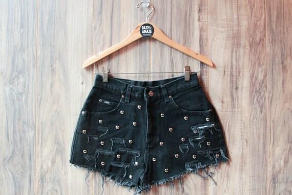 Lee high waist vintage studded black denim shorts | Ripped distressed shorts | Hipster shorts | Studded festival shorts |