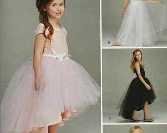 Simplicity S0421 Girls' ballerina tulle skirt very full short long hi-low hemline underlay Size 3-4-5-6 (uncut) sewing pattern