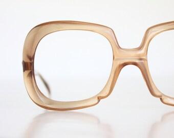 Vintage 70's Oversized Italian Honey Square Eyeglasses Frames