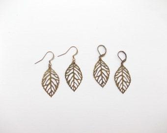 Leaf earrings. Fall jewelry. Leaves. Autumn. Foliage. Filigree leaves. Antique Bronze. Dangle. Leverback or Hook. Fall leaves
