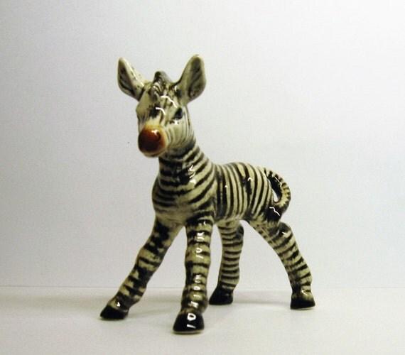 Goebel Zebra Figurine Vintage Porcelain Foal Figurine W
