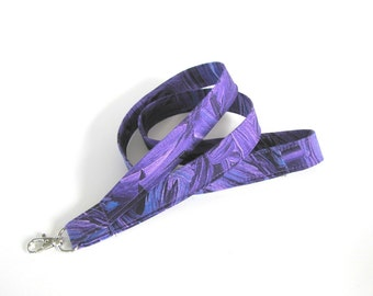 Purple Fabric Lanyard, ID Badge Lanyard Key Holder, Marble Pattern