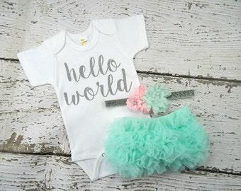 NEWBORN GIRL Take Home Outfit / Newborn Baby Girl  Hello World Bodysuit / Aqua Bloomers Pink & Aqua Headband Set / Baby Girl Hospital Outfit