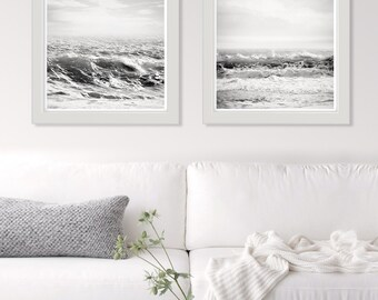 White wall art, Sea print, black and white ocean photography, surf art, set of 2 square prints, minimalist coastal decor, grey silver art