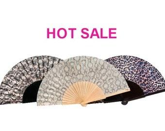 SALE: Set of 3 romantic designer hand fans | THREE THRILLS | leopard spots | black lace print | snakeskin print | gift | Free Shipping