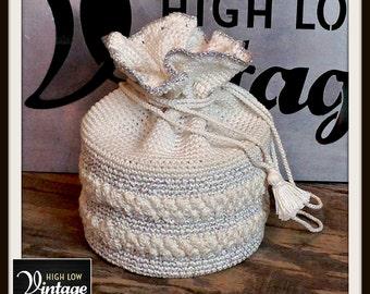 Vintage White Silver Handbag Bag Purse Pouch Macrame Knit