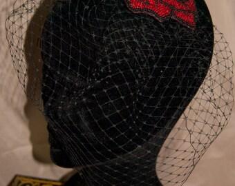 Crimson Femme Fascinator with Birdcage Veil