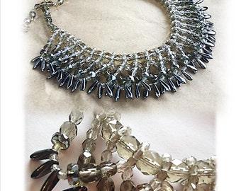 Vintage Necklace, OLD HOLLYWOOD, Smoky Quartz, Herrmatite, Grey, Gray, Crystals, Beads, Choker, 40's, Forties, Bridal, Vintage Wedding