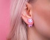 Pink Unicorn Cat Earring / Set of studs