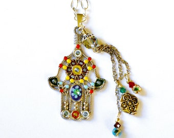 Hamsa Necklace Colorful Kabbalah Bohemian Hippie Jewelry FREE SHIPPING