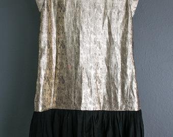 Gold Lamé Drop Waist Mini Dress, 80's does 20's Black Paisley Floral Print, Cap Sleeves, Black Cotton Skirt