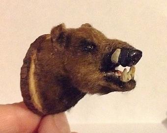 Dollhouse miniature 1:12 stuffed head of a boar.TO ORDER!!!!!!