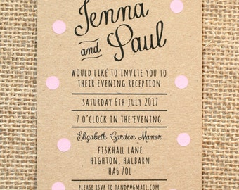 Pastel Pink Polka Dot Evening Wedding Invitation - Rustic Kraft