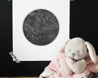 Constellation Ursa Major poster, space, kid print, baby, nursery art, Scandinavian print, Minimalist print, Little Dipper, wall art,