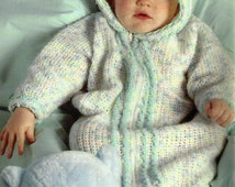 Crochet Infant Baby Bunting Cabled Hooded Baby Pattern - PDF Download