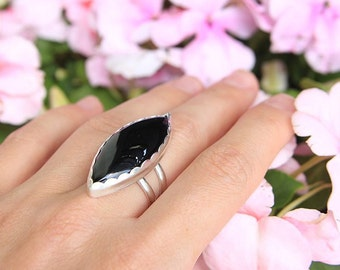 Black Onyx Ring, Sterling Silver, Bohemian Ring, Onyx Jewelry, Silversmith Ring