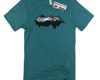Men's Mountain Range Tee, Colorado Shirt, Mountain Shirt, Mountain Clothes, Climbing, Wandering Ink, Hiking Tee, Camping Tee, Teal Triblend