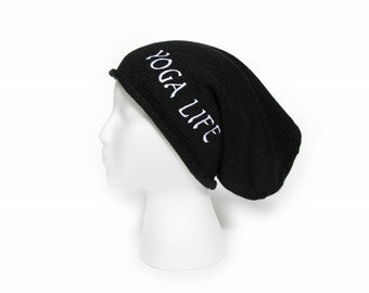 Slouchy Beanie with words Yoga Life Embroidered Beanie Hat