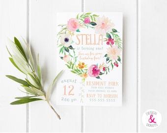 Boho Birthday Invitation, Printable, Girls, Floral Peonies, Birthday Invites [86_n]