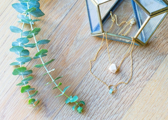 Essential Oil Diffuser Necklace with choice of Essential Oil Blend // Layered Wood & Gemstone Circle on Gold Chain
