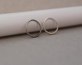 Tiny Hoop. Nose Ring. Sterling Silver Nose Ring. Spring Nose Ring. Tiny Nose Ring Stud. 24 to 18 Gauge. 5 to 12 mm Diameter. Dainty Hoop.