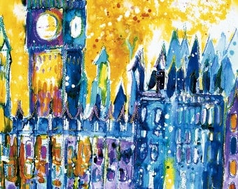 BIG BEN ~ Painting of London, Painting England, Limited Edition Print of London, Cityscape London Print, Contemporary print, by Sasha Barnes