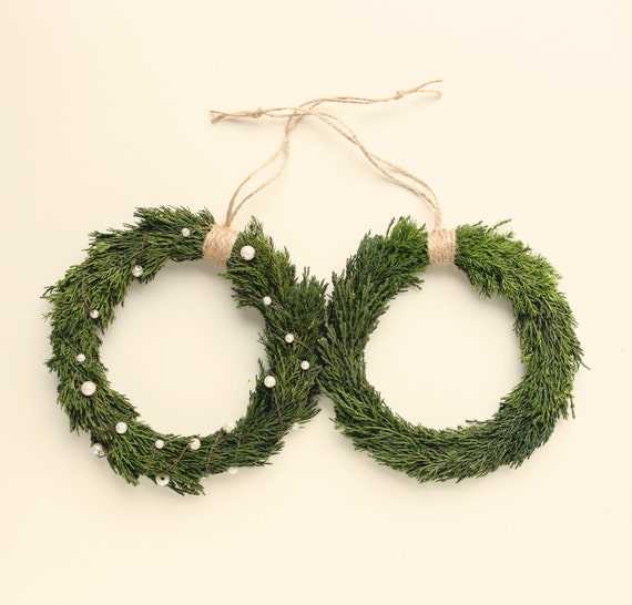"""Rustic holiday wreath, Preserved cypress, Natural home decor, Christmas greenery, Shabby chic holiday, wall hanging, Woodland wedding - 7"""""""