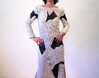 Silent Star, 80s Judith Ann Dress, Great Gatsby Dress, Black White Silk Beaded Dress, Sequin Dress, Beaded Deco Dress, Flapper Dress S M