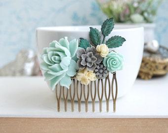 Mint Rose Flower Comb, Grey and Mint Verdigris Green Leaf Hair Comb, Mint Rustic Bridesmaids Gift, Mint Bridal Comb, Woodland Mint Grey Comb