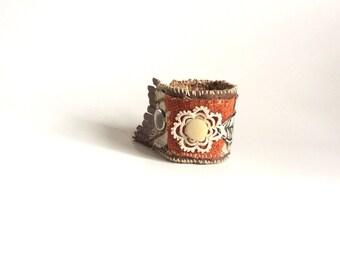 Upcycled Textile Art Cuff Bracelet, Fiber Art Jewelry, Boho Bracelet, Leather Fringed Cuff