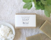 MINT LEAF - Ellie's Handmade Soap - 100% Natural + Cold Process Olive Oil Soap - 4 ounce bar