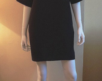 Silk Crepe Shift Dress with Pockets