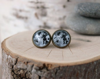 Full Moon Stud Earrings, Moon Stud Earrings, Antique Bronze, Glass Cabochon, Space Jewelry