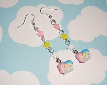 NEW Tiny Little Twin Stars Kawaii Stars Dangle Earrings