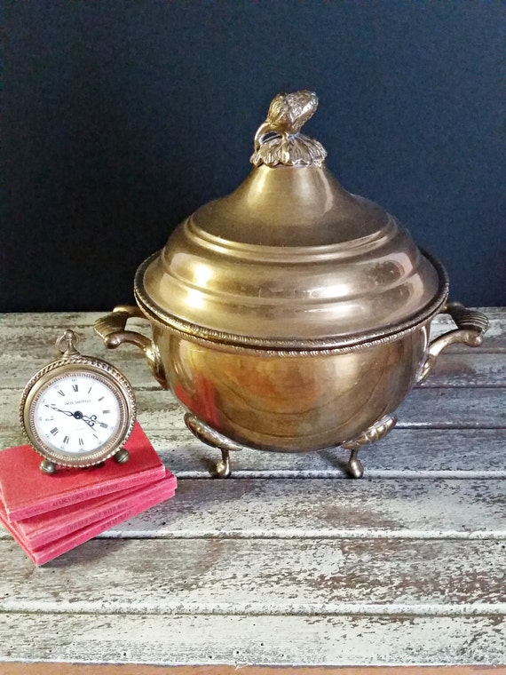 "Brass Dish Container, Lidded Ornate Feet, Handles, Acorn Knob On Lid-""Ships International"" Email For Rates"