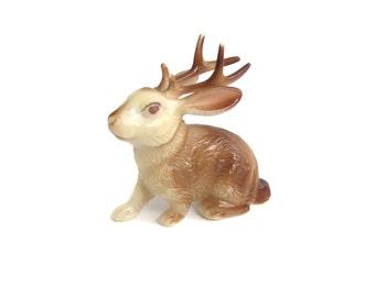 Vintage Jackalope figurine, Small Plastic Jackalope Animal Toy, Jackrabbit Antelope Cross, Animal Odditie, Mythical Creature