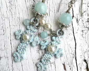 Aqua Patina Cross Earrings, RELIGIOUS EARRINGS, Religious Jewelry, CrOsS JeWeLrY, Assemblage EaRRings