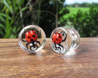 "Classic Red Ladybug Plugs Pyrex Glass One Pair - 00g 7/16"" 1/2"" 9/16"" 5/8"" 3/4"" 1"" 9.5 mm 10 mm 12 mm 14 mm 16 mm 18 mm 20 mm 25 mm"