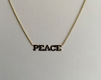 Dainty layering necklace, solid 14k yellow gold,   PEACE