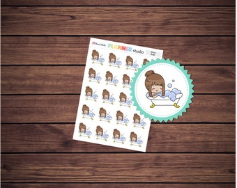 Bath Mi'Me Kawaii Chibi Girl Planner Stickers