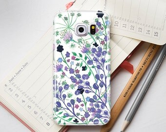 Violet Flower Cover For Samsung Galaxy S6 Edge Case Floral To Samsung S5 Case Galaxy s7 edge Case For Samsung Phone Note 4 5 Case PP1261