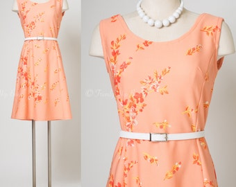 Vintage Dress, Vintage Peach Dress, 60s Dress, Vintage Floral Dress, Mad Men Dress, Vintage Sleeveless Dress, 60s knit dress - S/M
