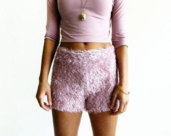 Mauve Eyelash Bouclé Shorts / Fuzzy Shorts / Textured Shorts / Knit Shorts / Stretchy / Fall Fashion / Women's Fashion / 19th & Whimsy